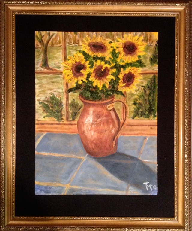 Sunflowers (11/13) [19 x 23 framed, oil on canvas]