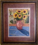 "Sunflowers (11/2013) oil on canvas  [21"" x 25"" as framed]"