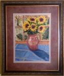 """Sunflowers (11/2013) oil on canvas  [21"""" x 25"""" as framed]"""