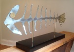 Fish, stainless steel with inlaid brass (8x16x42) [Jul 2014]
