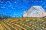 Wynfield's Moonlit Barn 18 x 36, oil on canvas ... Work in progress