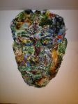 Palette Cover Portrait, 30 x 42, collage of plastic wrap palette covers with dried oil paint (5/2015)