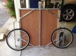 Bicycle Trailer Folded ready for storage and net summer